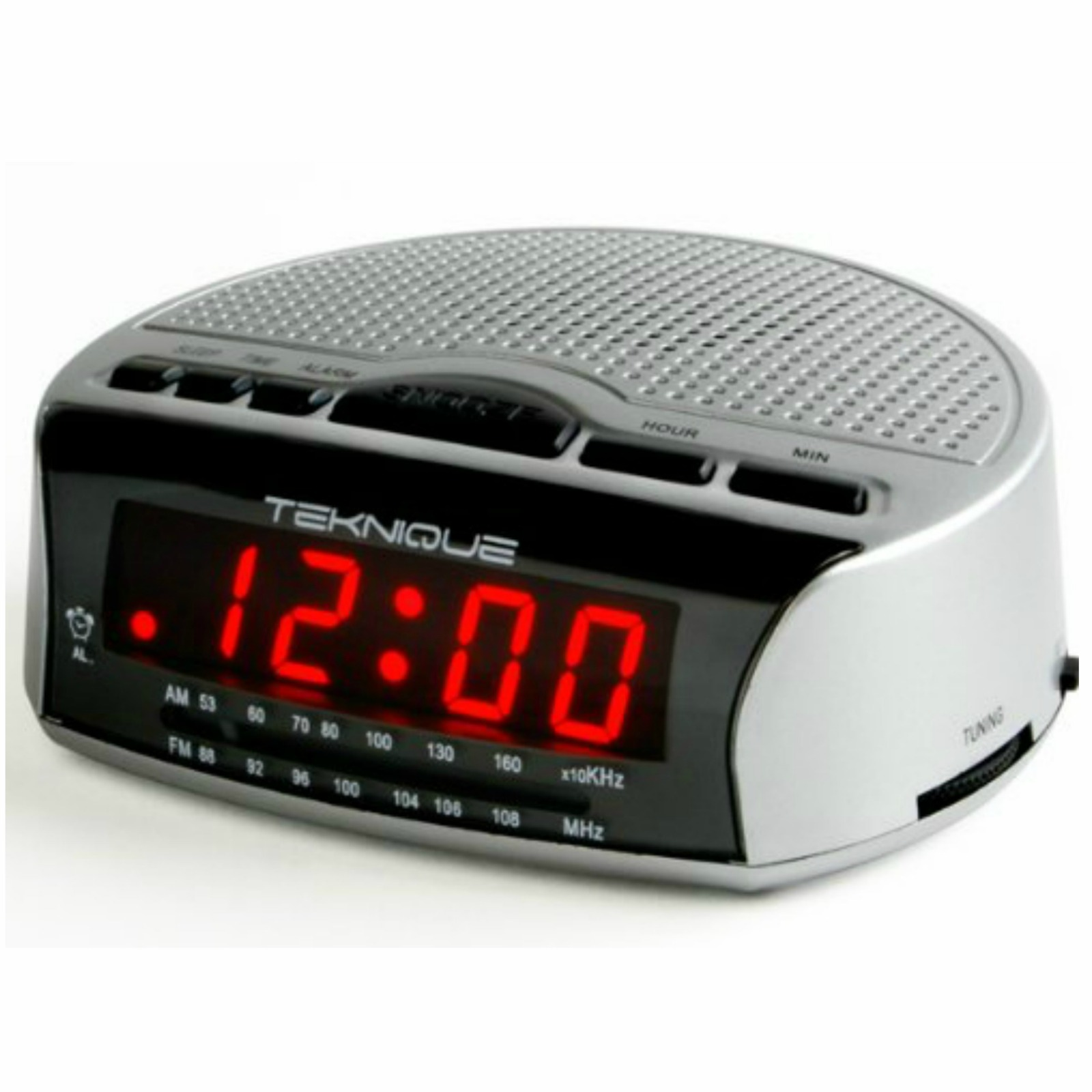 teknique t175 alarm clock radio silver ebay. Black Bedroom Furniture Sets. Home Design Ideas