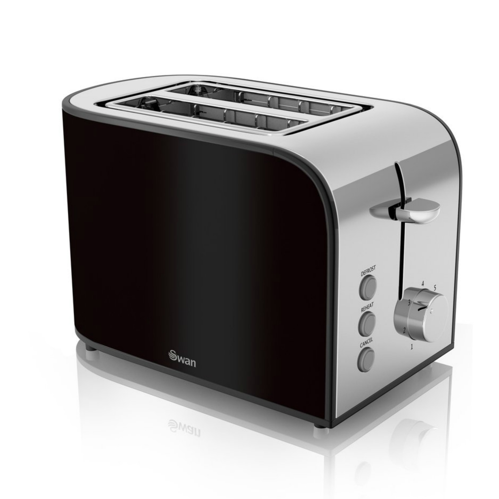 Details about Swan Black Townhouse Pyramid Kettle and 2 Slice Toaster  #191313